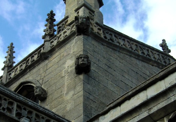Gargoyles on the tower of St. Mary the Virgin, beautifully carved in Lincolnshire Limestone.