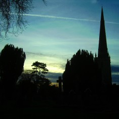 The Churchyard at dusk, February 2008