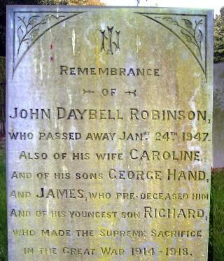 Richard Robinson,s 'supreme sacrifice' recorded on his father's gravestone.