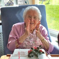 Mary Topps celebrating her 100th birthday