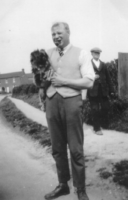 Mr Hedges, Nellie Bray's father and William (Bill) Bray's father-in-law. Photographed opposite the Bray's house in Muston, 1930s.