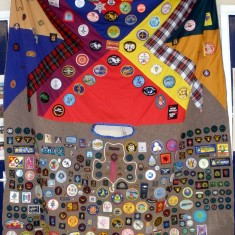 Jill Bagnall's collection of badges.