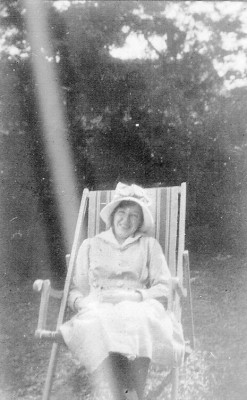 Olga Shipman from the Easthorpe end of the village relaxing in the sun, late 1920s/early 1930s.