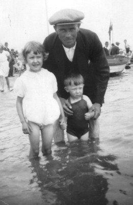 Skegness 1934. Nora Challands (Walter & Lucy Challands' daughter), Walter Coy and Gerald Coy.