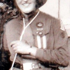 Mary Johnstone in her Guide uniform at Muston Rectory, 1928