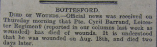 Cyril Barrand Obituary 19/9/1916