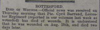 Cyril Barrand Obituary 19/9/1916