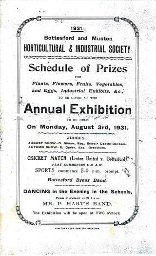 Bottesford & Muston Horticultural & industrial Society's Annual Exhibition - 1931