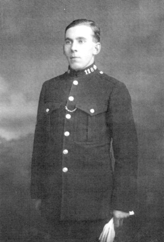 Trainee P.C. Arthur Bradshaw during his first visit to Bottesford in 1929.