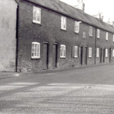 4.High Street South side. Hand's Cottages or Butcher's Row, seen from East