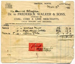 1933 receipt for the first load of coal Tom Samuel purchased from Frederick Walker and Sons, coal, coke and lime merchants at Orston