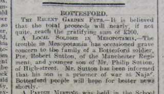 A local soldier in Mesopotamia - Grantham Journal 4th September 1920
