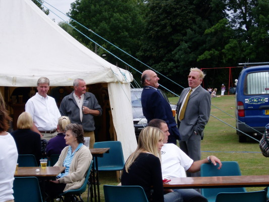 The hospitality tent - Cob George, Tom Fisher, David Wright, Herbert Daybell