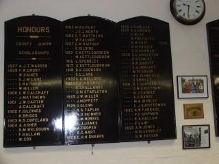 The Bottesford School Honours board shows Frankie Bullock winning honours in 1923