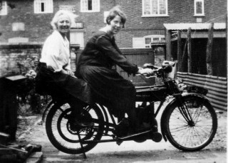 Granny on Uncle Edgar's bike (a Royal Enfield) with my Auntie Blanche, the wife of Granny's son, my Uncle Mod.