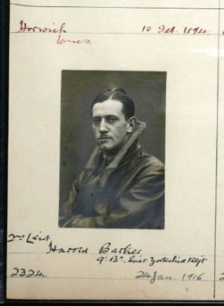 Royal Aero Club pilot certificate entry for 2nd Lieut. Harold Barker