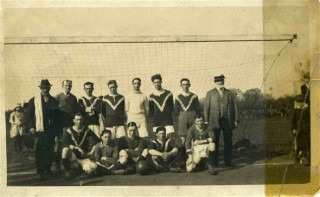 Football Team member in the 1920s - Sid Darby 2nd from the right front row