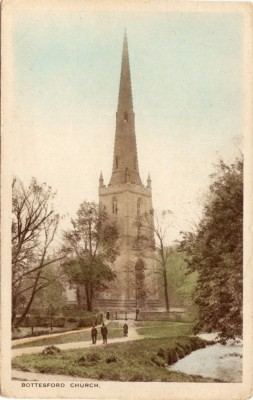In this old post card the parapet, or 'holliers', with pinnacles at its corners, surrounding the church tower, is seen clearly,