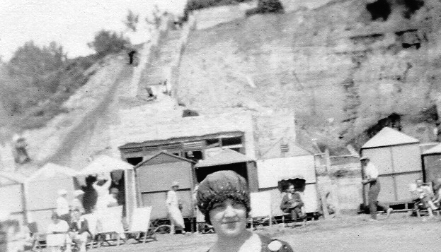 Winnie Coy on holiday, Bournemouth, 1920s.