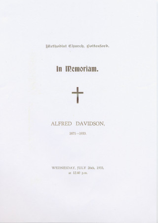 Alfred Davidson's funeral notice