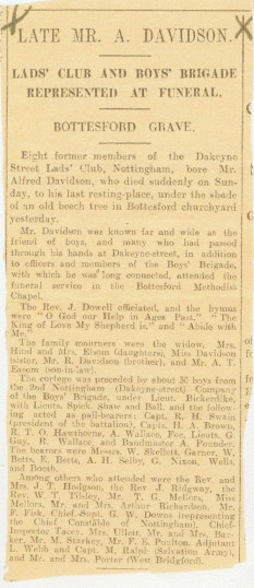 Press report of Alfred Davidson's funeral