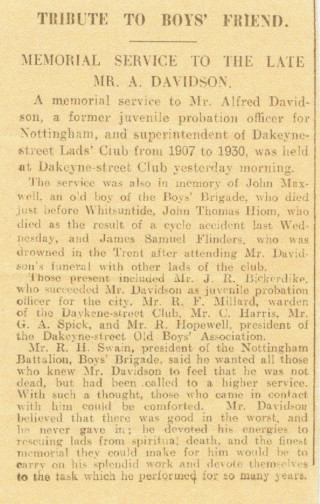 Press report of a Memorial Service for the late Mr Alfred Davidson.