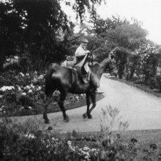 George Marsh, riding around his gardens at The Elms, Bottesford | From the collection of Angela Marsh