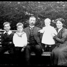 The Marsh family at The Elms, from L to R - George Ernest junior, Alec, George Ernest senior, Philip and Lilian