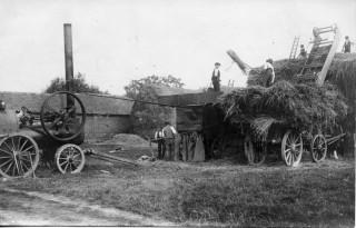 Portable engine and belt-driven threshing machine, Charlton Farm, Staunton