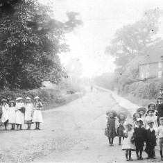 A view from Muston church gates along Main Street, c. 1900. The Bray's house was on the left of the road in the distance where it bends to the right.