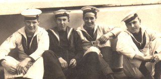 Aboard Barham, Gibralta, Jan 1924 - A. Bradshaw second from left.