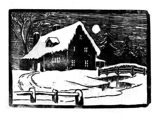Linocut from The Bottesfordian, 1951