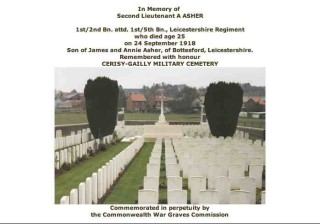 Albert Asher's Commonwealth War Graves Commission entry in the 'Debt of Honour Register