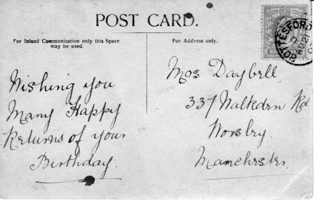 Reverse of Albert Street Post Card. 1903 or 1907?