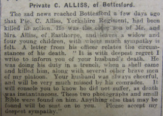 Pte Charles Alliss  Obituary 20/10/17