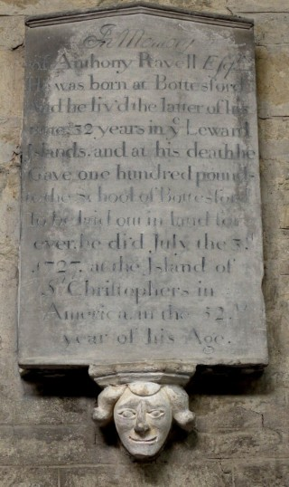 Memorial plaque to Anthony Ravell, died 1727.