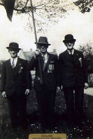 Armistice Day in the 1920/30s: Cecil Briggs, Ernest Jallands (Standard Bearer) and Jack Asher. | Bottesford Heritage Archive
