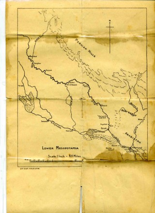 Campaign Map detailing the Lower Mesopotamia region.   From the collection of Bill Sutton Jnr
