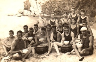 Arthur and mates taking a break at Gibralta, 1922-1924: Arthur Bradshaw at R of second row.
