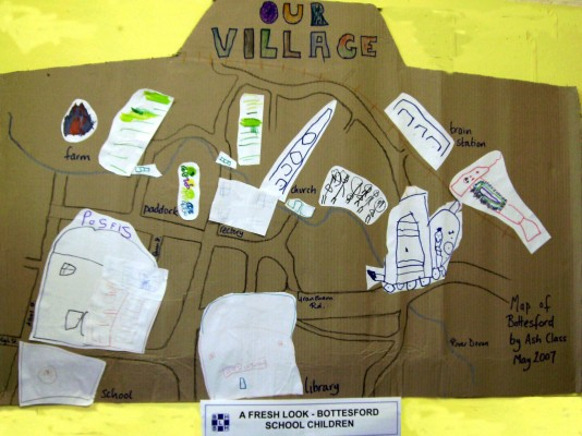 Map of Bottesford by children of Ash Class, Bottesford Primary School, displayed at the Living History Exhibition, May Day weekend 2007.   Ash Class, Bottesford Primary School