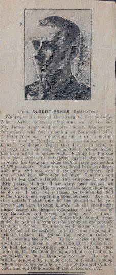 Grantham Journal 9/18 - Albert Asher's obituary  | From the Collection of Winifred Bass