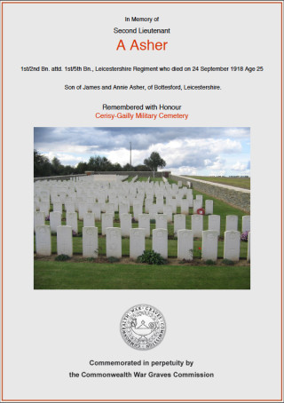 Commonwealth War Grave Commission Memorial  Certificate | CWGC