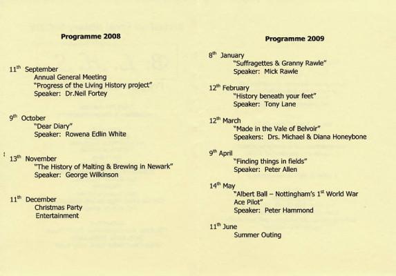 Bottesford Local History Society 2008-2009