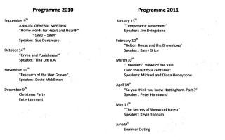Bottesford Local History Society, 2010-2011