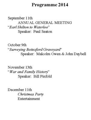 Meetings Programme - Autumn 2014