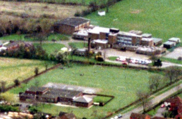 An aerial photograph showing Bottesford HIgh and Primary Schools. The picture was taken looking NW, showing Barkestone Lane to the right, the Primary School in the lower part of the image, the High School in the upper part | From the collection of Mrs Jill Bagnall