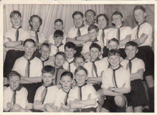 Bottesford Scouts in the village hall, 1957-59.