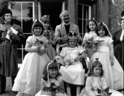 The May Queen and her attendants with Canon Metcalfe at the garden entrance to the Old Rectory, Bottesford | Contributed by Mrs Joan Peach
