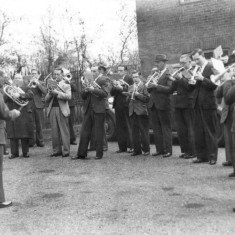 Bingham and Bottesford band, playing at Bingham around 1930. Bob Sutton is the tall cornet-player wearing a hat.