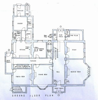 The plan of the ground floor of the Rectory during the 1950s.